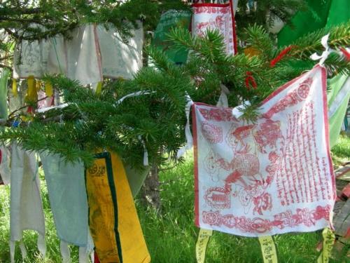 Молитвенные флаги на елке. Похоже на Новый год
