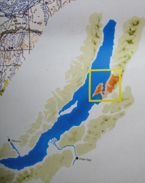 Карта Байкала с обозначенной территорией полуострова Святой Нос