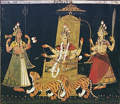 Богиня дурга на троне. 1685-1690, Басоли, Пахари