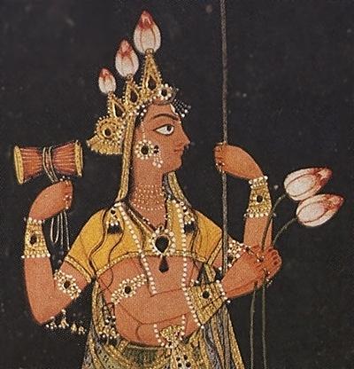 Богиня Дурга на троне.Фрагмент.