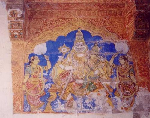 Роспись на стене у алтаря Нрисимхи в хрма Шри Рангам