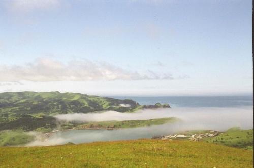 вид с самой высокой сопки(412 метров)на остров и порт