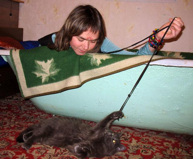 """А это наш кот. Мы его накормили прасадом, а на следующий день он """"обрел свободу"""" - ушел в загул."""