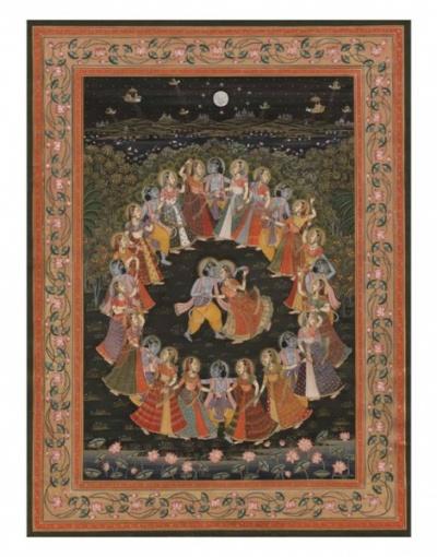 Танец Раса Лила. Индийская миниатюра