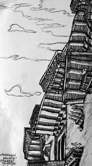 """""""Небесный дворец"""". Ше, Ладакх 2007, (гелиевая ручка)"""