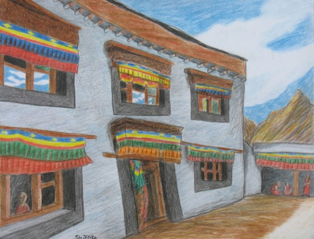 """Монастырь в Пьянге"", Ладакх, 2007, (цветные карандаши)"