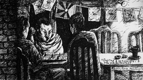 «Партия в шахматы в ресторане Mayur, МакЛеод Ганж», 11.10.07
