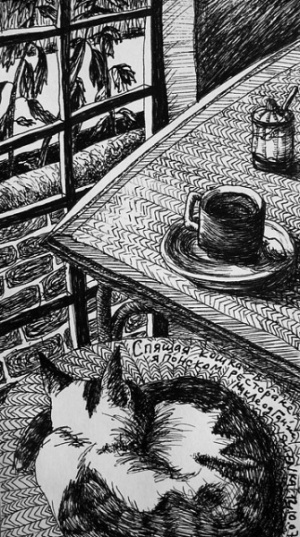 «Спящая кошка в японском ресторане, МакЛеод Ганж», 12.10.07
