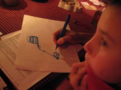 Вано рисует Кротова.