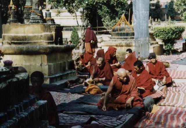 Монахи практикуют у Махабодхи.