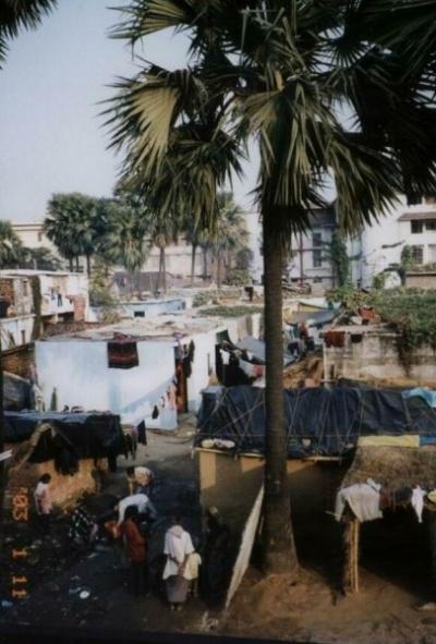 Вид на великую деревню Бодхгайя из окна отеля.