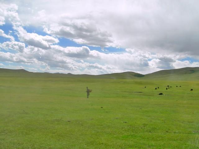 Зеленый пейзаж со стаффажем. Монголия