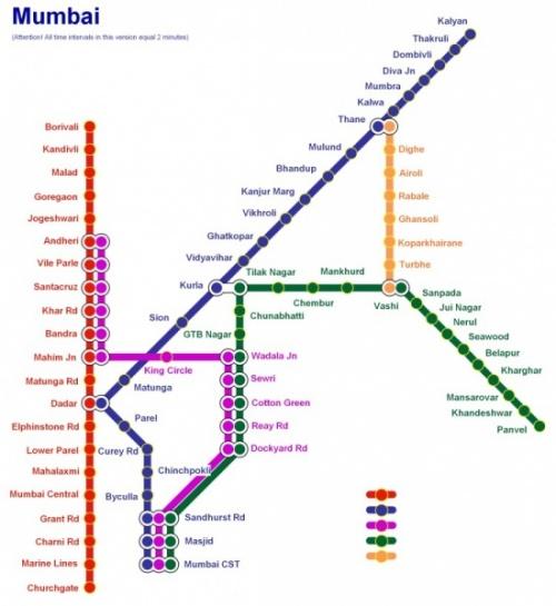 Карта метро Мумбая