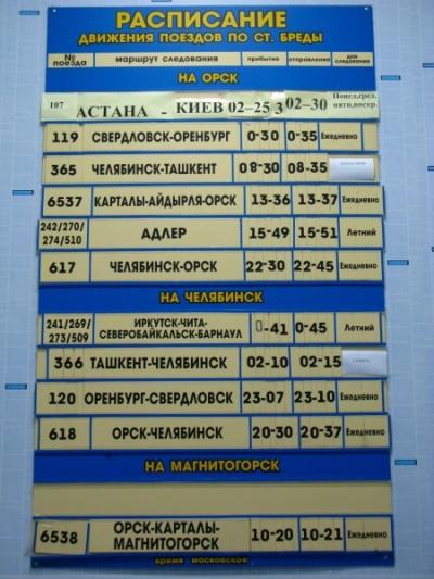 Расписание поездов по станции Бреды