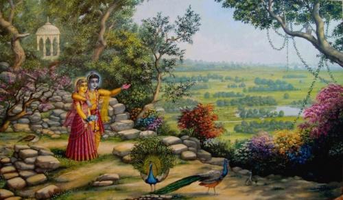 Радха и Кришна на Говардхане