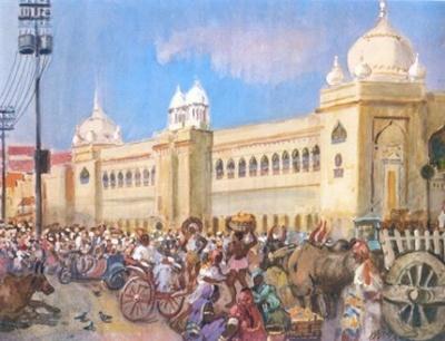 А.М.Герасимов Рынок в Бангалоре 1954г. Бумага, акварель, гуашь, 42Х53
