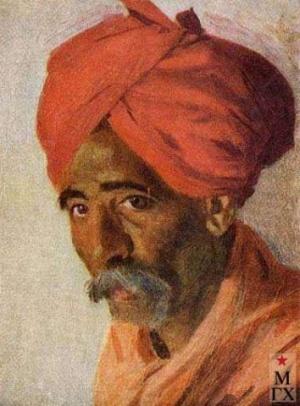 ЕФАНОВ В.П. Старый индиец в красной чалме (этюд). 1952. К.М. 23x13 см.