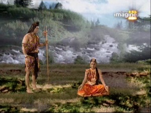 Шива даёт Анджане благословение