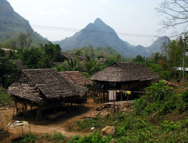 Как видно, дома стоятся из подножного стройматериала: бамбука и сухих листьев