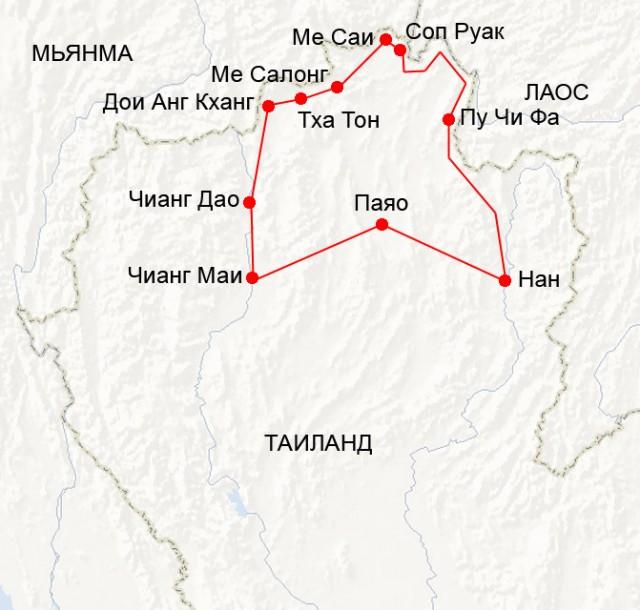 Карта третьего мотопутешествия по северу Таиланда