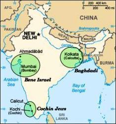 Карта расселения евреев в Индии