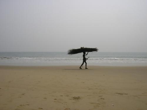 Пляж восточнее Пури - редкий прохожий - но достаточно символичный...