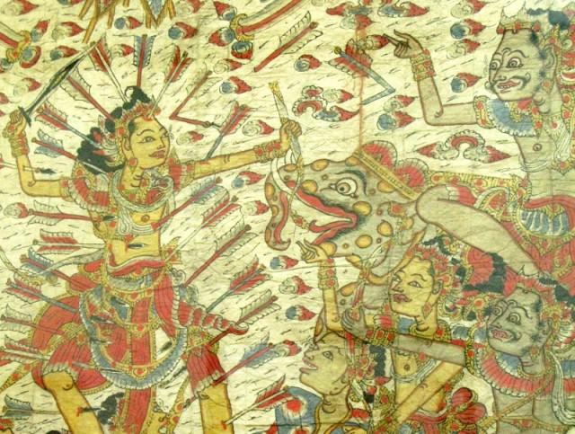 """""""Гибель Абхиманью"""" (фрагмент), конец 19 в., неизвестный художник. Натуральные пигменты, индиго, китайская тушь на грубом холсте."""