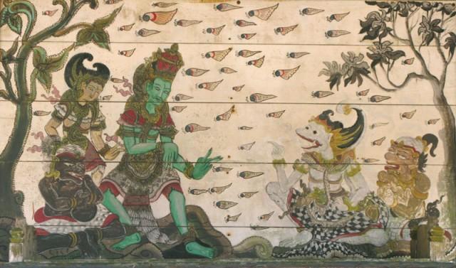 """Сцена из """"Рамаяны"""". Роспись на деревянном алтаре в храме Пура Батур."""