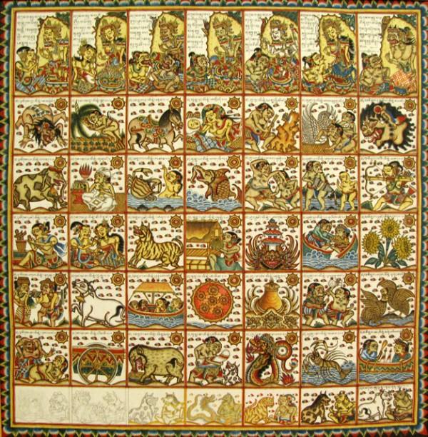 Астрологический календарь, 2004, И Ньоман Арчана. Натуральные пигменты, темпера, тушь на ткани.