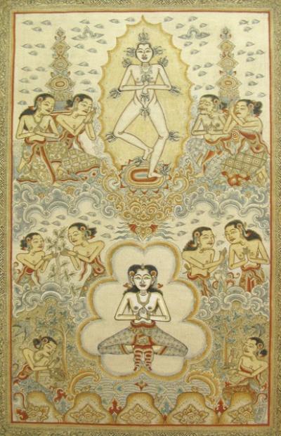 """""""Религиозная жизнь"""", 1989, И Ньоман Мандра. Натуральные пигменты, тушь, сусальное золото на ткани."""