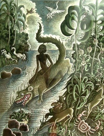 """Мальчик на крокодиле"", 20 век, Ида Багус Маде Надра. Темпера на бумаге."