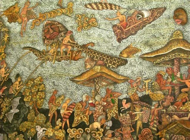 Про серферов и рыбаков. Жизнь балийского побережья из картины того же художника.