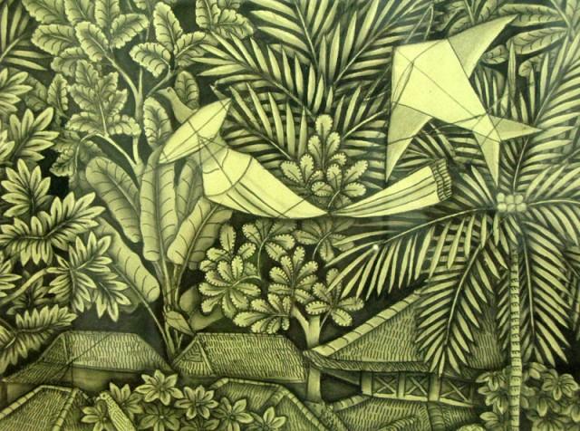 """Фрагмент из картины """"Летающие змеи в Сануре"""", 1968, Ида Багус Ньоман Раи. Тушь, бумага."""