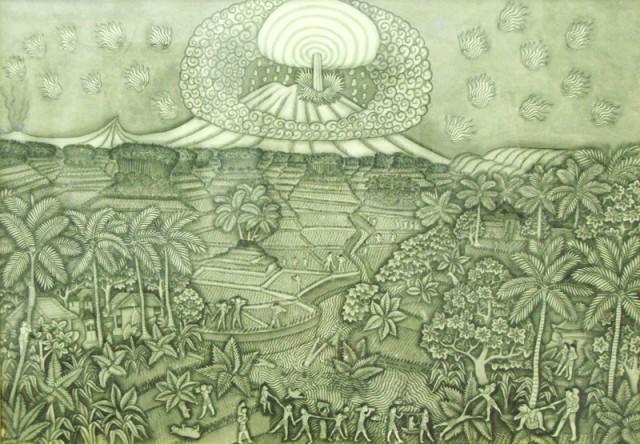 """Извержение вулкана Агунг"", 1968, Ида Багус Ньоман Раи. Тушь, бумага."