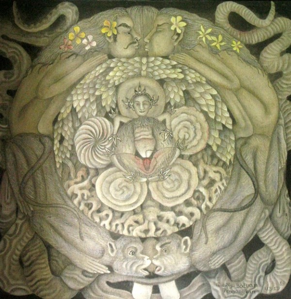 """Творение"", 1983, Дева Ньоман Батуан. Акрил, холст."
