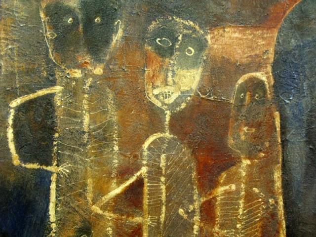 """Фрагмент из """"Память прошлого"""", 1995, И Маде Джирна. Смешанная техника"""