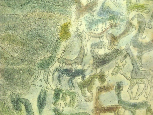 """Фрагмент из """"Последнее путешествие"""", 1981, И Маде Вианта. Акрил и тушь на холсте."""