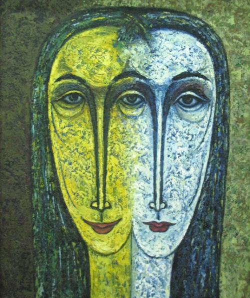 """""""Два лица"""", 1989, И Маде Рута. Масло, холст. Тема сдвоенных лиц мне тоже близка"""