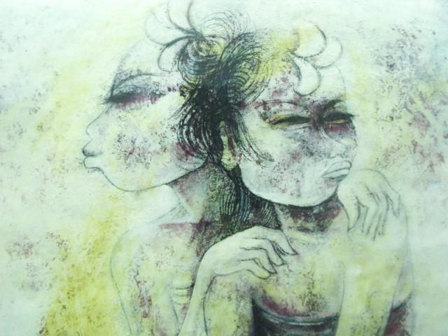 """""""Две девушки"""", 1976, Кэй Ит Таная. Акрил на бумаге. Картинка напомнила об одной славной подружке"""