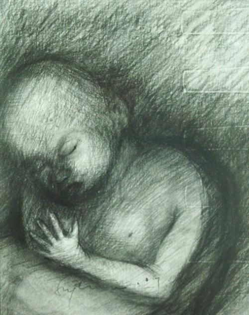 Набросок для скульптуры, 2004, И Маде Супена. Карандаш, бумага.