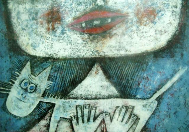 """""""Девочка с котом"""", фрагмент, 1976, Кэй Ит Таная. Акрил, бумага."""