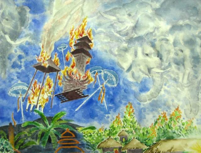 """Фрагмент из """"Как много..."""". Бык и башня с церемонии кремации улетают в небо."""