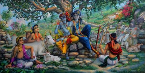 Кришна Баларама и пастухи на Говардхане