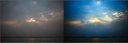 До и После. Индия / Варанаси / Берег реки Ганг.