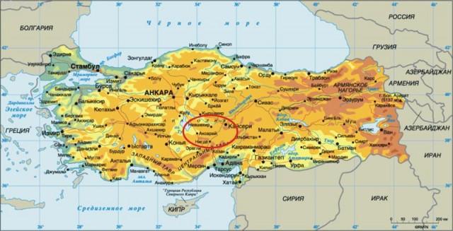 Каппадокия на карте Турции.