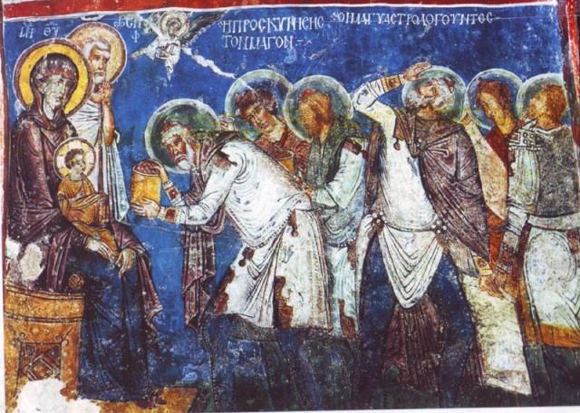 """""""Поклонение волхвов"""". Византийская фреска в пещерной цервки Гёреме."""