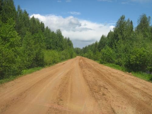 По дороге в поселок