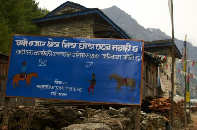 На лошади разъезжать по деревне запрещено! Штраф 500 рупий!