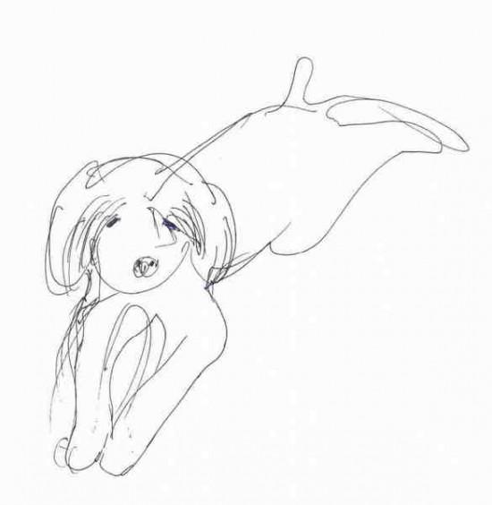 рисунок лежащей собаки.
