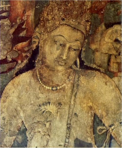 Боддхисаттва Падмапани - известнейшая фреска Аджанты